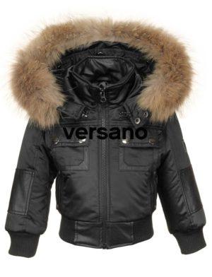 Jongens kinder jas met bontkraag zwart Versano