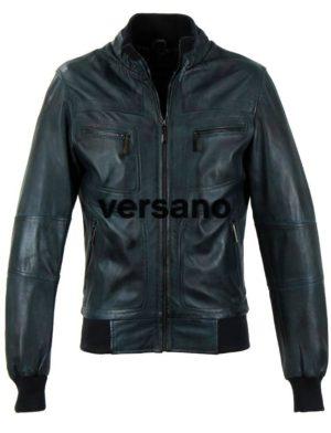Leren-jas-heren-blauw-Versano-502-voor