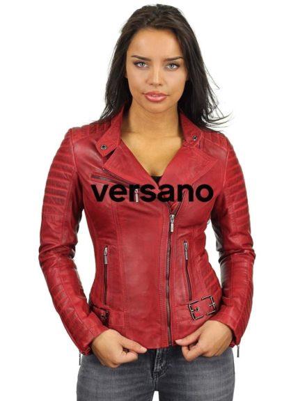 zwarte leren dames biker jack van Versano, leren dames bikerjas