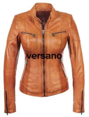 Leren jasje dames biker model zwart Versano Miami