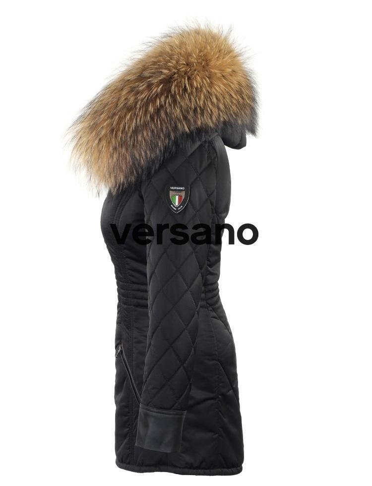 Winterjas Zwart Lang.Versano Winterjas Met Bontkraag Lang Charlet Zwart Zijkant Leather