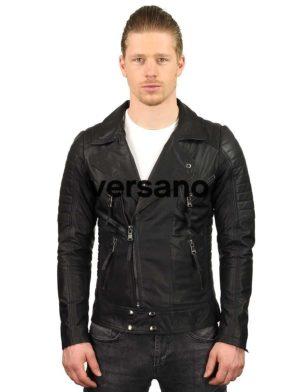 heren bikerjack lamsleer zwart Versano TR50