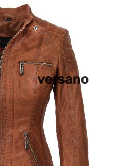 Dames leren jas Versano 318B Cognac Leather Shop Doci