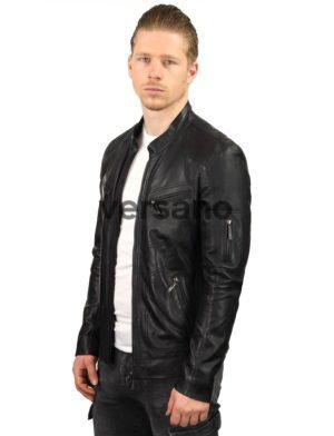 b7439f79df4 veste en cuir noir pour homme