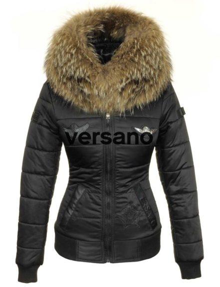 Dames Winterjas bontkraag met badges Versano Zara legergroen