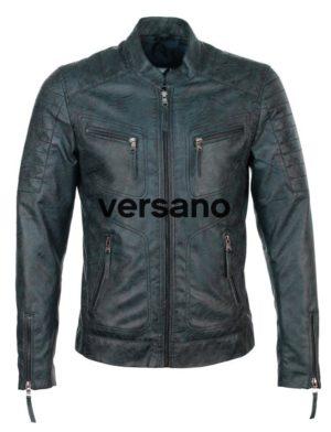 Imitatieleren heren jas blauw biker model Versano TR 36 B