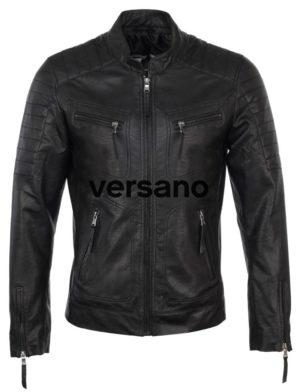 Imitatieleren heren jas zwart biker model Versano TR 36 B