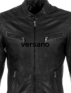 72f1e6d62f0 Chaqueta de verano de imitación de cuero para hombre Negro Versano ...