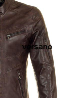 d4166cb582b los hombres de cuero de imitación de la capa del verano marrón Versano  TRR36. los ...