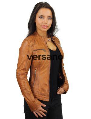 704bf001c Leren dames bikerjack cognac Versano 346