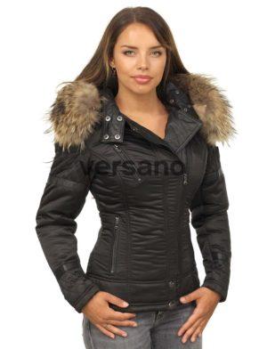 detailed look 93483 99c13 Versano Dames Winterjas Met Bontkraag Farry Zwart