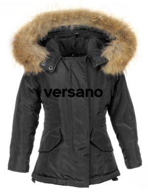Meisjes Parka jas met bontkraag zwart Versano