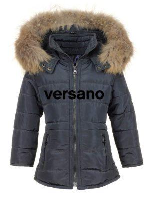 Meisjes winterjas met bontkraag blauw Versano