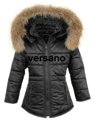 Meisjes winterjas met bontkraag zwart Versano