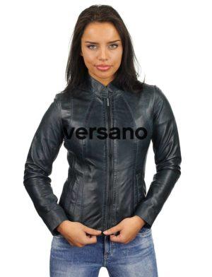 blauw-leren-jasje-dames-versano-301-model2
