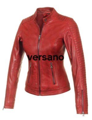 half off 26fc8 c1493 Echt lederen dames jas in biker look Rood Versano 341