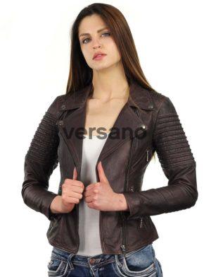 brand new 5596d 4b248 echt leren biker jack dames bruin Versano 343