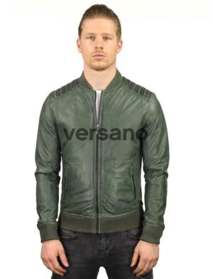 heren-bomberjack-leer-groen-versano-tr48-model-voorkant2