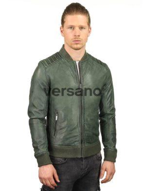 heren-bomberjack-leer-groen-versano-tr48-model-voorkant3