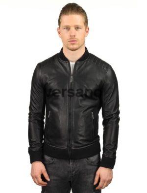 6d9099d1ed1f3f men s bomber jacket black genuine leather Versano TR 48