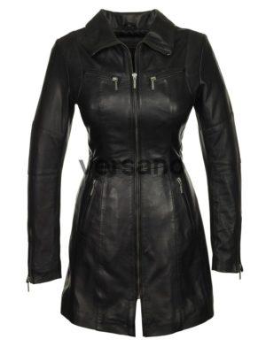taille 40 15837 0d17a lange leren dames jas zwart Versano 312