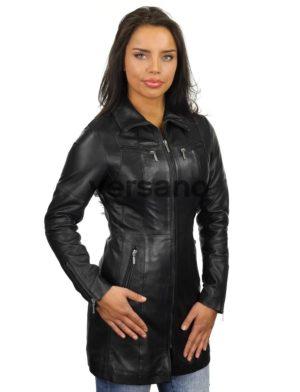 Veste longue noir femme