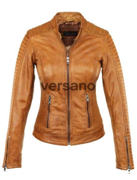 echt lederen dames jas in biker look zwart Versano 341