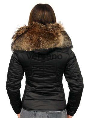 eaef210bbf6409 Versano Dames Winterjas met bontkraag Shamila Zwart. Versano ...