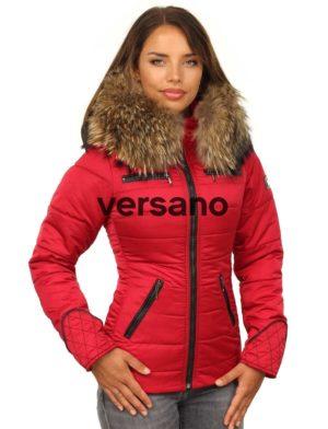 Dames winterjas rood met rits Rita Versano