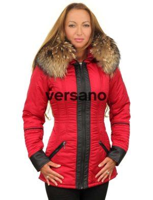 Rode dames winterjas met bontkraag halflang Sandy Versano