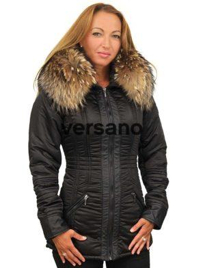 Zwarte dames winterjas met bontkraag halflang Sandy Versano
