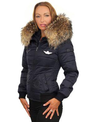 Winterjas Women.Ladies Winter Coat Fur Collar With Badges Versano Zara Blue