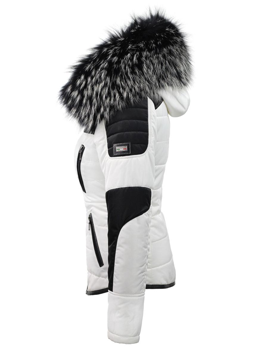 Witte Dames Winterjas.Witte Dames Winterjas Met Grote Bontkraag Versano Zijkant Leather