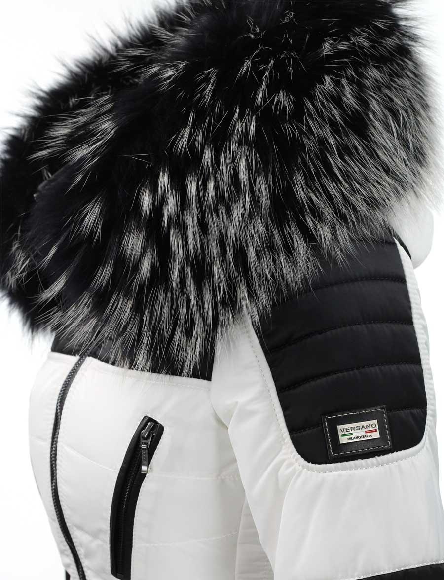 Zwart Witte Winterjas.Witte Dames Winterjas Met Grote Zwart Witte Bontkraag Versano Detail