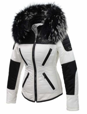 Zwart witte dames winterjas met bontkraag Sema Versano