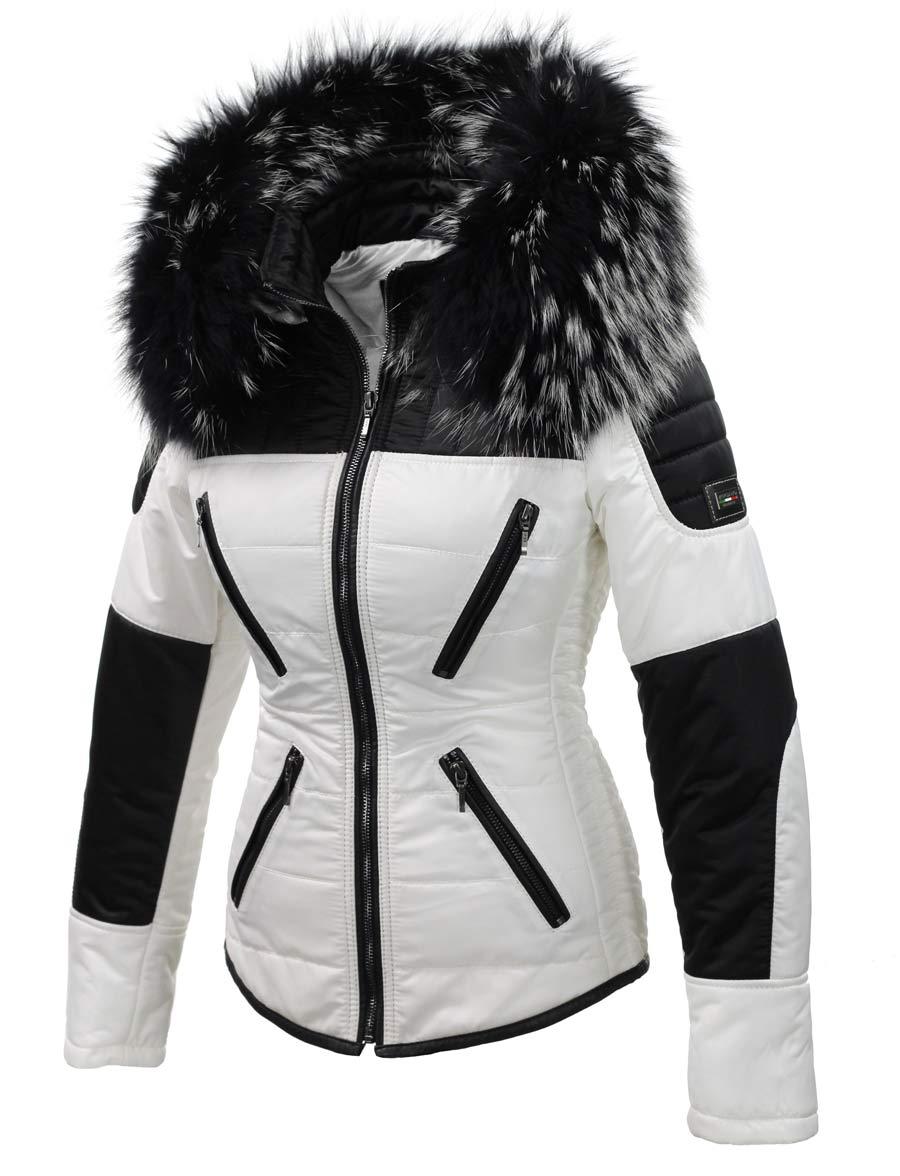Witte Dames Winterjas.Witte Dames Winterjas Met Grote Zwart Witte Bontkraag Versano Schuin